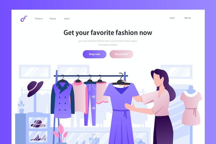 Thumbnail for Fashion Online Shop - Website Header Illustration