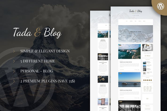 Thumbnail for Tada & Blog - Personal Blog WordPress Template