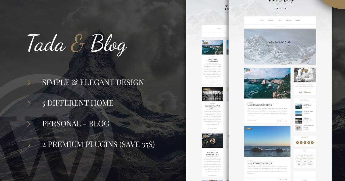 Download Tada & Blog - Personal Blog WordPress Template by ad-theme