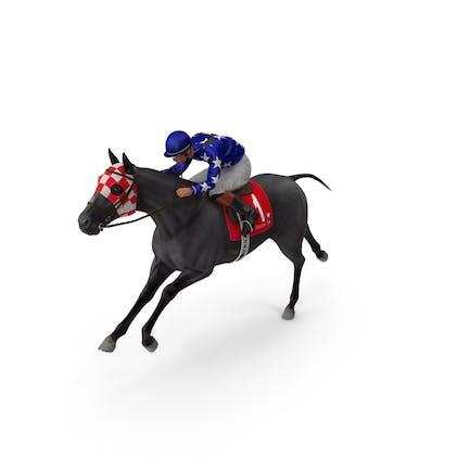 Running Black Racing Horse with Jokey