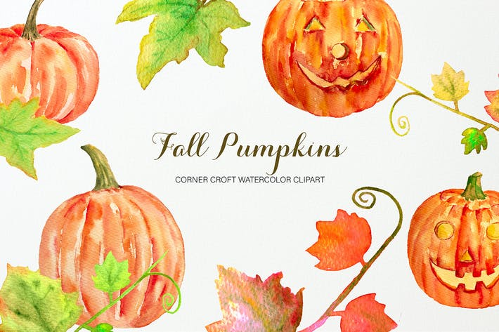 Thumbnail for Watercolor Pumpkins Clipart