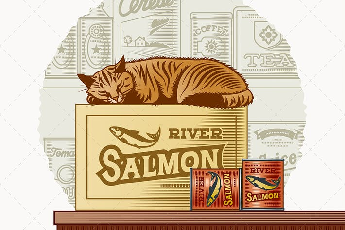 Thumbnail for Retro Canned Fish And Sleeping Cat