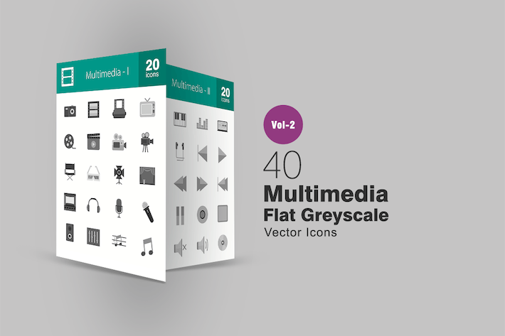 Thumbnail for 40 Multimedia Greyscale Icons