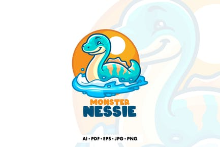 Nessie Monster Cartoon Logo