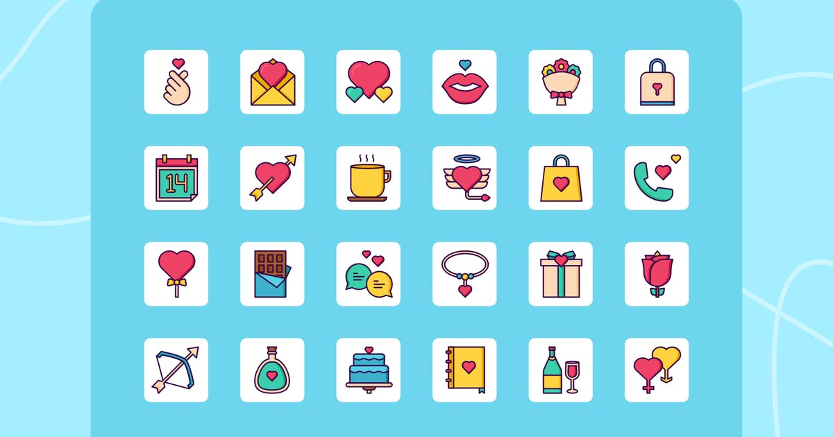 Download 24 Love Line Multicolor Vector Icon Pack by usedesignspace