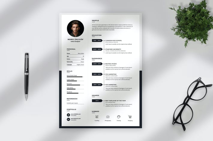 Thumbnail for Minimalist Resume Template
