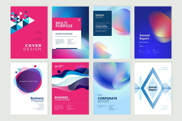 Set of brochure, annual report design templates - product preview 0