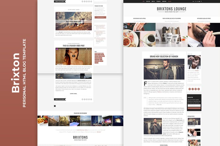 Thumbnail for Brixton - Minimal & Personal HTML Blog Template