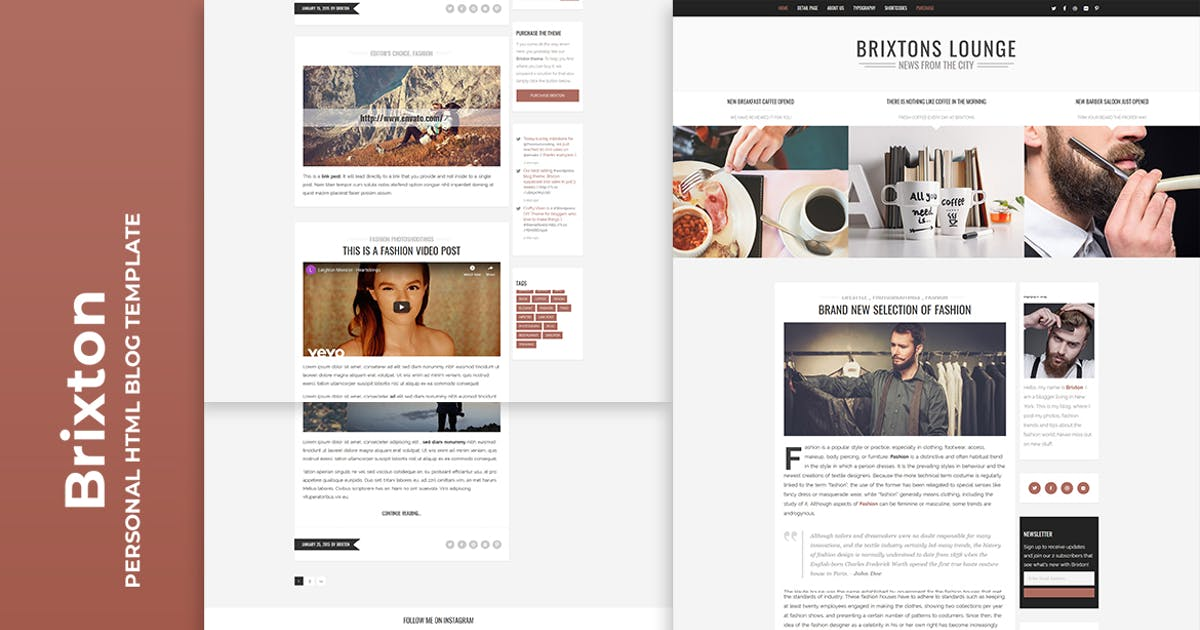 Download Brixton - Minimal & Personal HTML Blog Template by htmlbeans