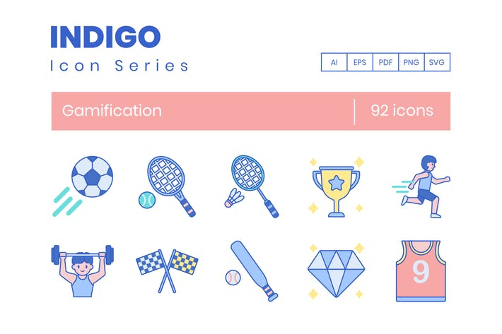 92 Gamification-Symbole - Indigo-Serie