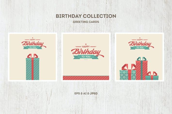 Thumbnail for Вектор Коллекция открыток на день рождения
