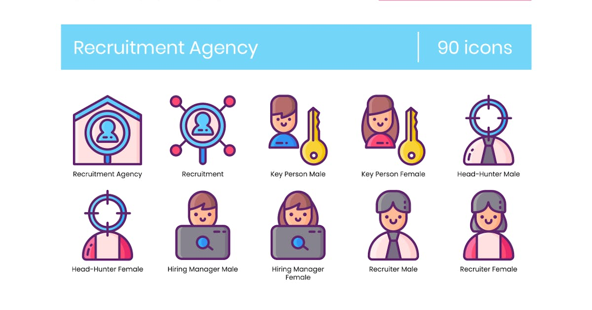 Download 90 Recruitment Agency Icons - Crayons Series by Krafted
