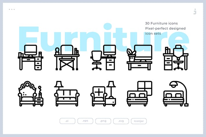 Thumbnail for 30 Furniture and Household Icons