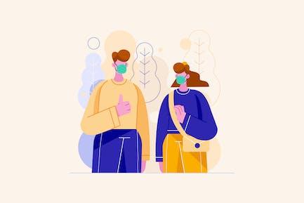 Tragen von Maske-Kampag