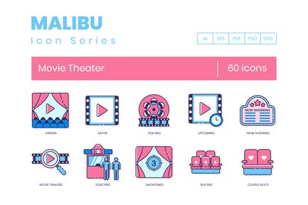 60 Movie Theater Line Icons