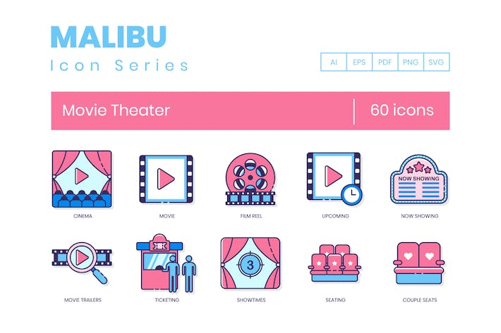 Thumbnail for 60 Movie Theater Line Icons