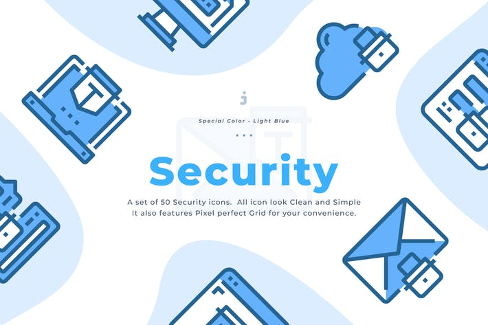 Thumbnail for 50 Internet Security Icons - Light Blue