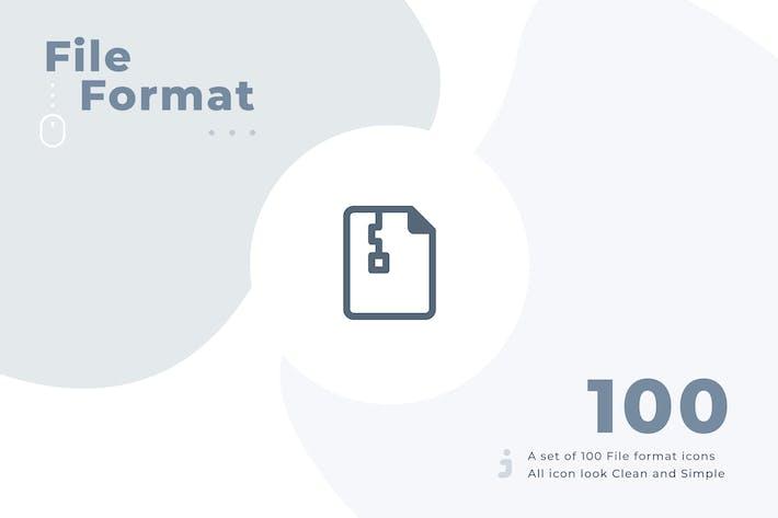 Thumbnail for 100 Dateiformat-Symbolsatz - Material