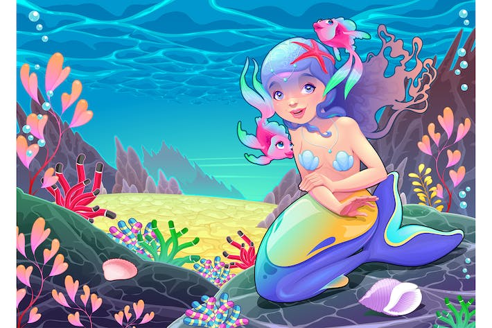 Cover Image For Funny Cartoon Mermaid in the Seascape