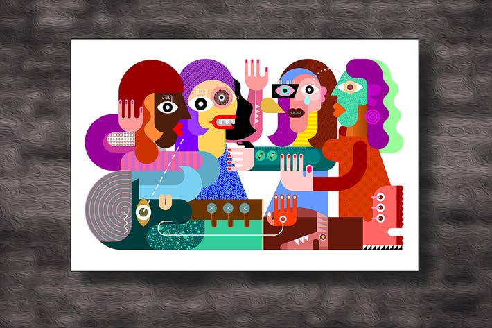 Thumbnail for Four Women and One Man vector illustration