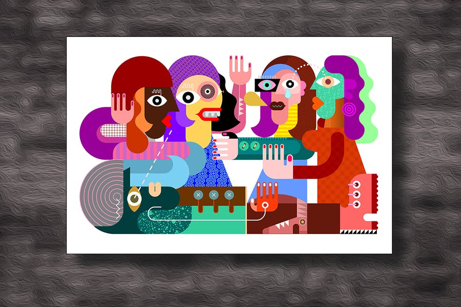 Four Women and One Man vector illustration