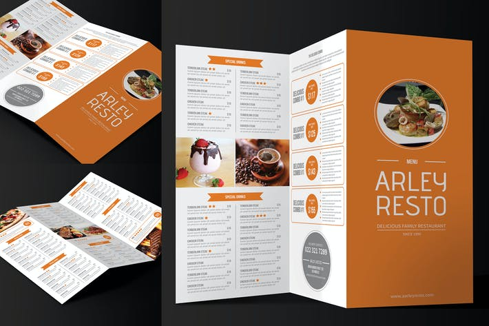 Thumbnail for Trifold Simple Restaurant Menu