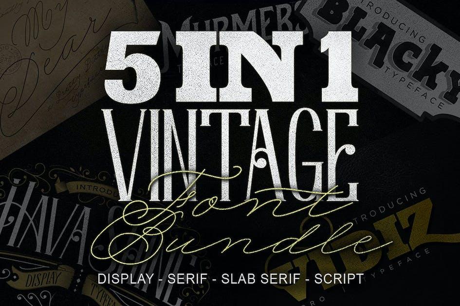 Download 5 in 1 Vintage Font Bundle by jiwstudio