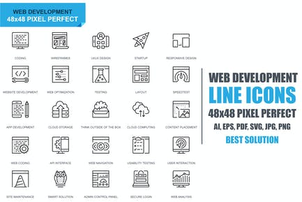 Simple Set Web Disign and Development Line Icons