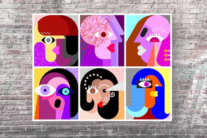 Six Faces / Facial Expressions vector illustration