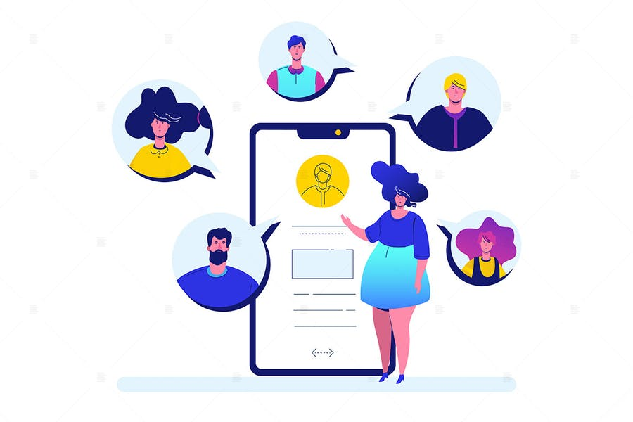 Online meeting - flat design style illustration