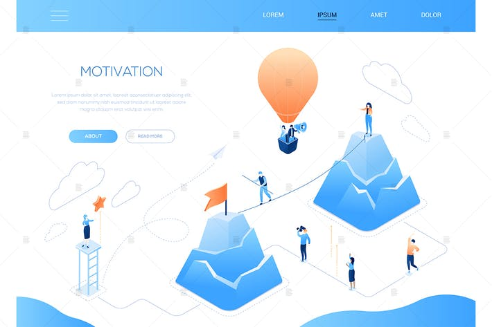 Thumbnail for Motivation - colorful isometric web banner