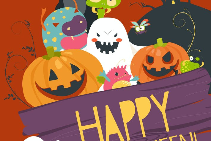 Thumbnail for Monster friends guising trick or treat. Vector