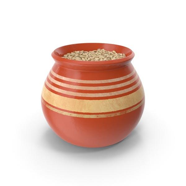 Ceramic Pot With Rye