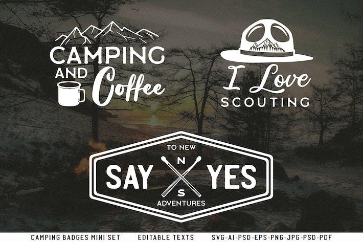 Thumbnail for Retro Camp T-Shirt Design Set Logo Adventure Quote