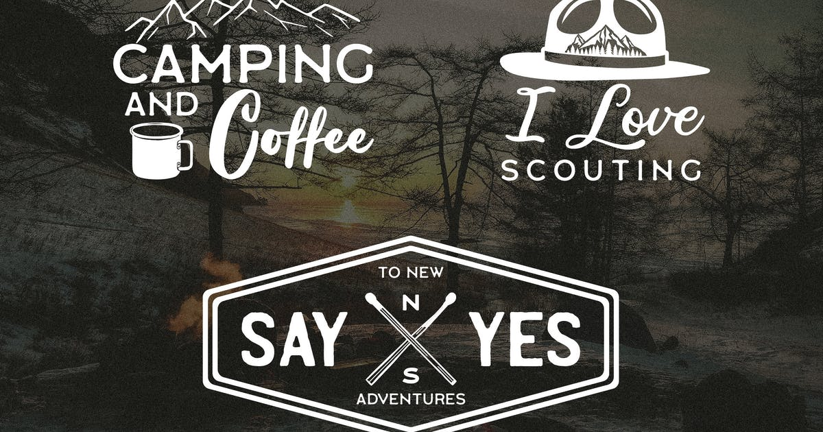 Download Retro Camp T-Shirt Design Set Logo Adventure Quote by JeksonJS