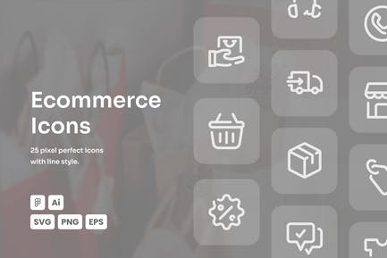 Ecommerce Dashed Line Icons