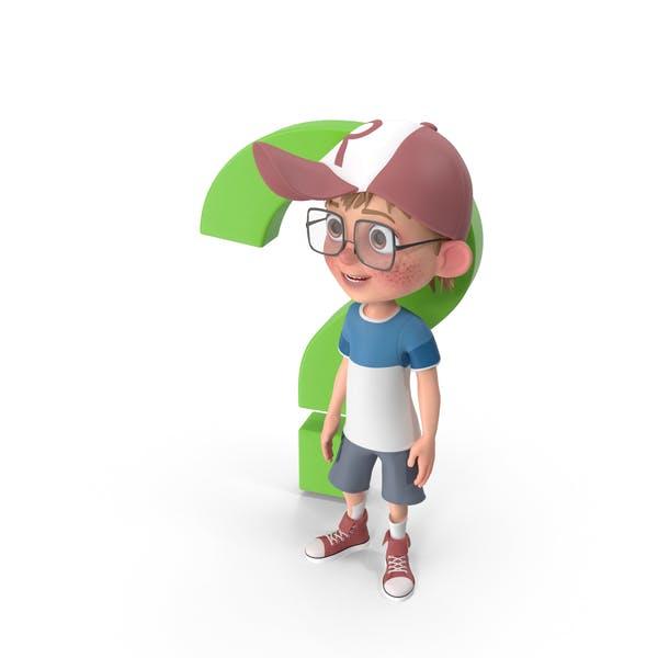 Cartoon Boy Standing Next to Question Sign