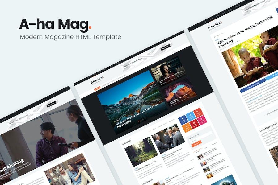 AhaMag | Modern Magazine HTML Template