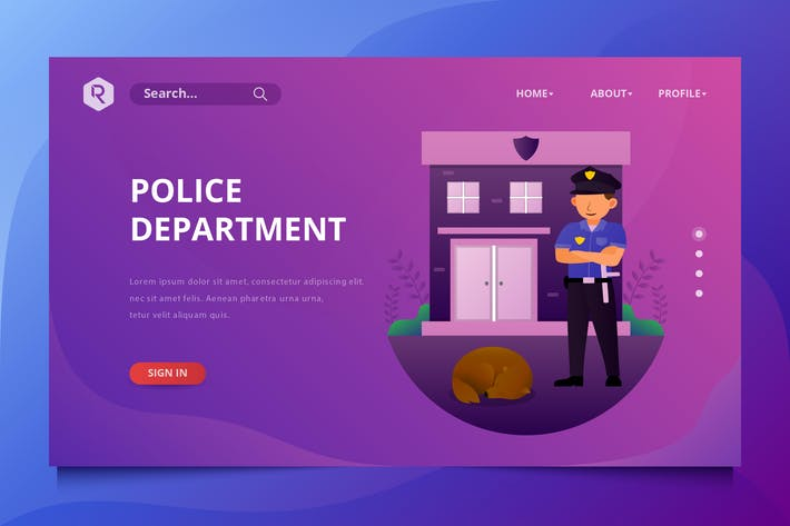 Thumbnail for Police Department Web Header Vector Template