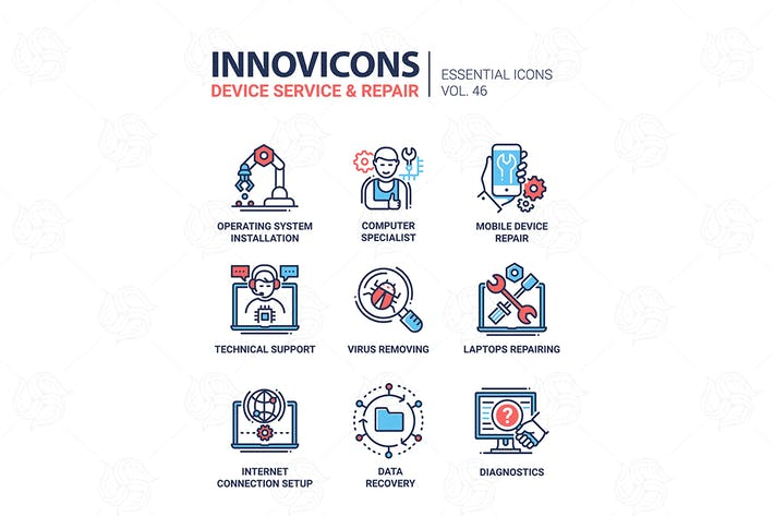 Thumbnail for Device Service - modern vector line design icons