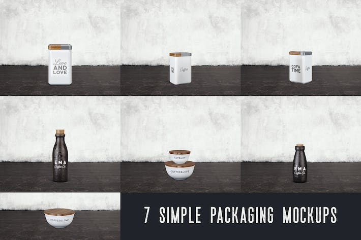 Thumbnail for 7 Simple Coffee Packaging Mockups