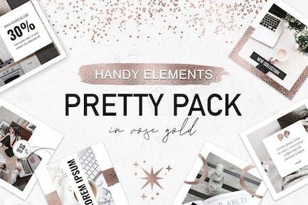 Rose Gold Glitter Elements Big Pack