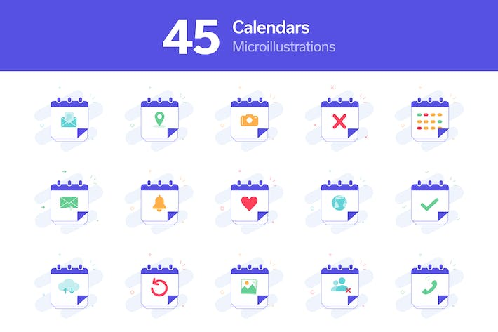 Thumbnail for Calendars Micro Illustrations Pack