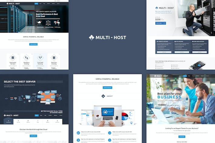 Thumbnail for Multi Host - Responsive Hosting Template