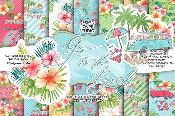 Thumbnail for Go to the Beach digital paper pack