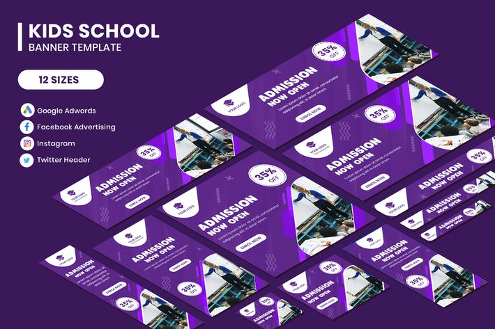 Cover Image For Kids School Google Adwords Banner Template