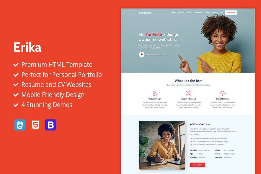 Erika - Modèle HTML de Réalisations, CV et CV
