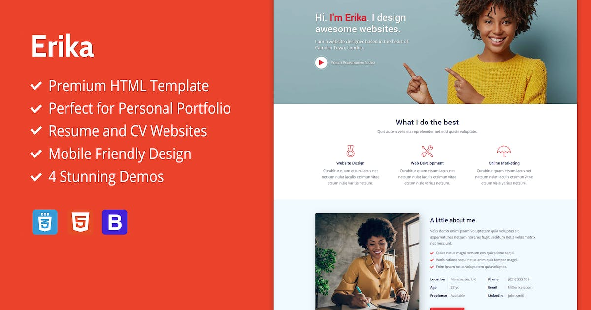 Download Erika - Portfolio, CV And Resume HTML Template by Epic-Themes