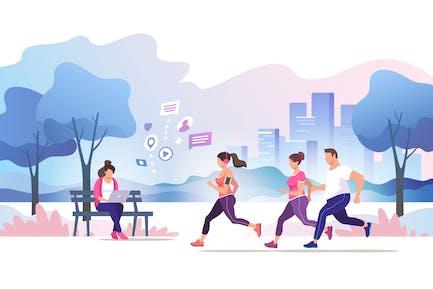 Grupo Gente corriendo en el Parque de la Ciudad