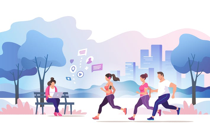 Thumbnail for Gruppenmenschen laufen im Stadtpark